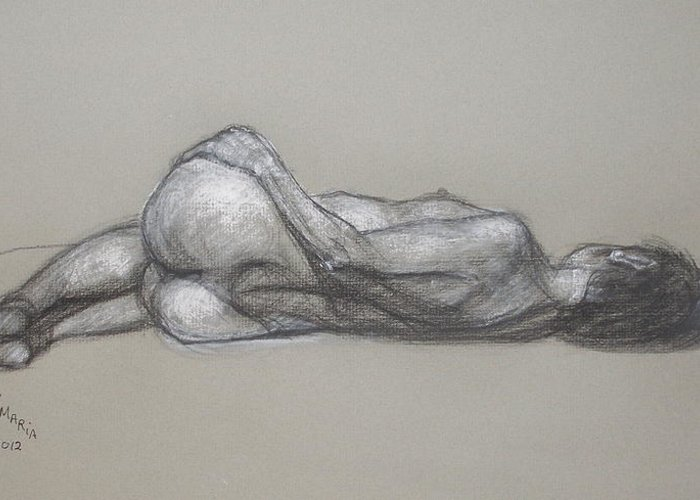 Realism Greeting Card featuring the drawing Rose Reclining by Donelli DiMaria