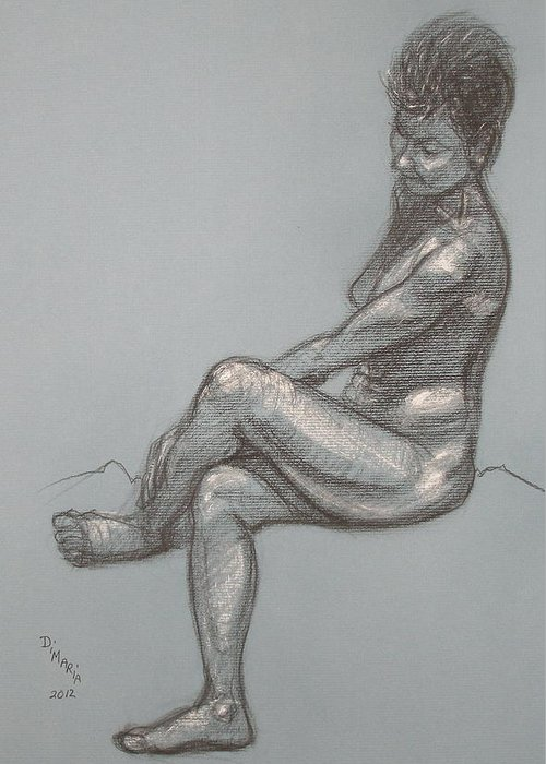 Realism Greeting Card featuring the drawing Rose Seated by Donelli DiMaria