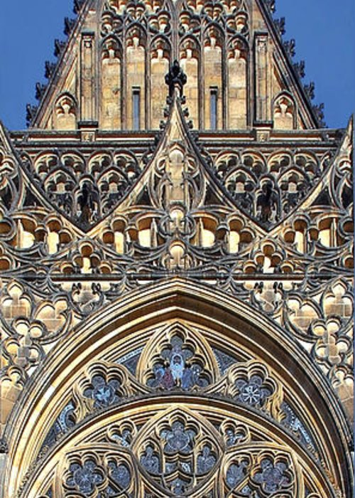 Rosette Greeting Card featuring the photograph Rose Window - Exterior Of St Vitus Cathedral Prague Castle by Christine Till