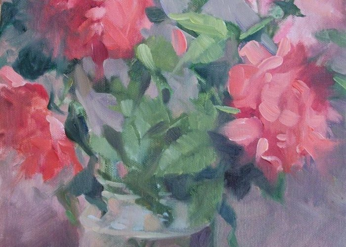 Roses Greeting Card featuring the painting Roses by Margaret Aycock