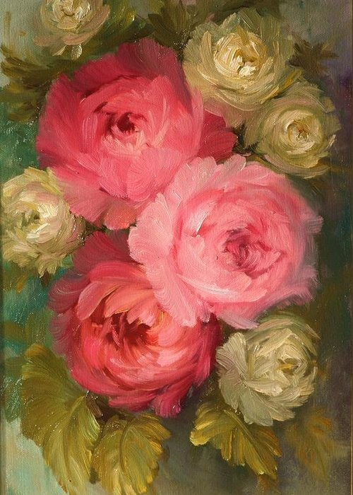 Flowers Greeting Card featuring the painting Roses by Michael Chesnakov