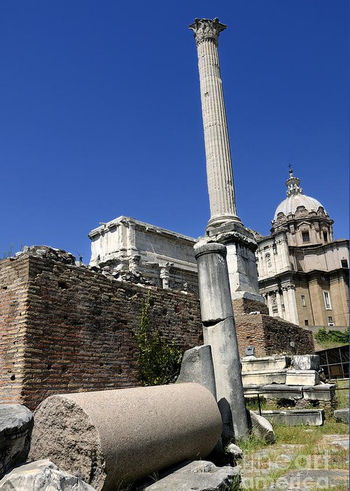 Ancient Rome Greeting Card featuring the photograph Rostra. Column Of Phocas And Septimius Severus Arch In The Roman Forum. Rome by Bernard Jaubert