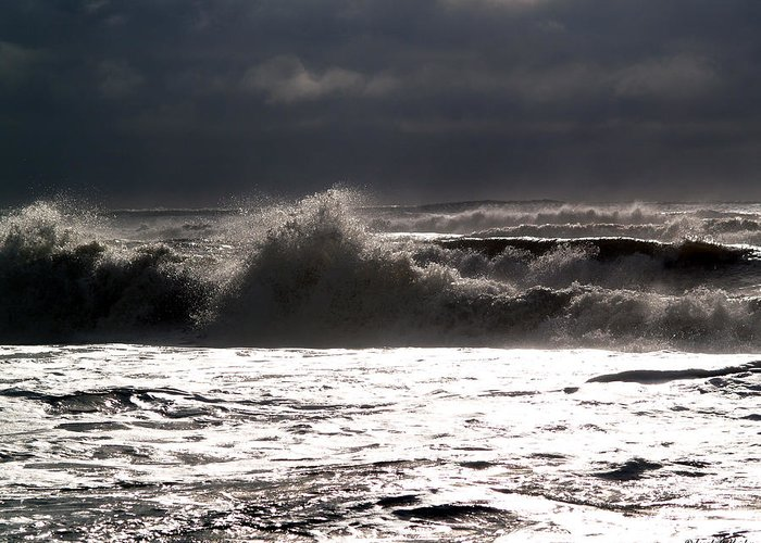 Rough Surf Greeting Card featuring the photograph Rough Waves 2 by Deborah Hughes