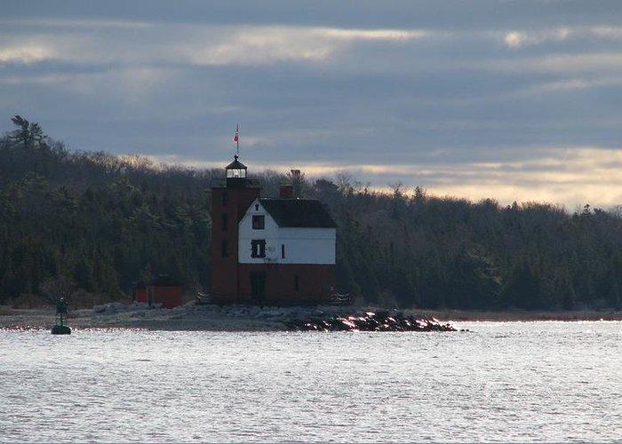 Round Island Lighthouse Greeting Card featuring the photograph Round Island Lighthouse by Keith Stokes