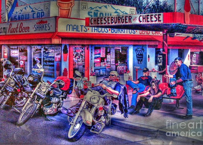 Route 66 Greeting Card featuring the photograph Route 66 Motorcycle Wall Art by Tommy Anderson