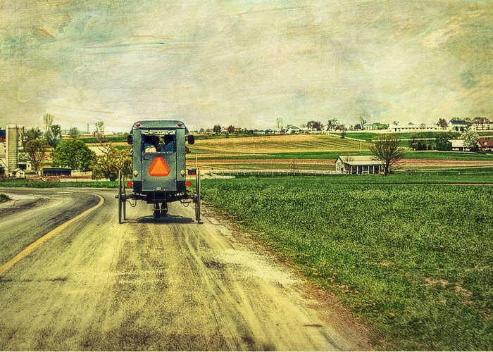Amish Greeting Card featuring the photograph Route 716 by Kathy Jennings