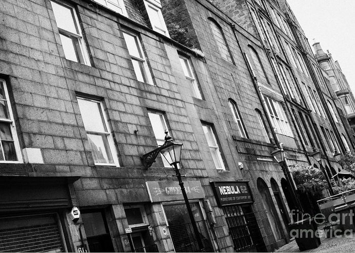 Row Greeting Card featuring the photograph Row Of Old Granite Houses And Shops On The Green Aberdeen Scotland Uk by Joe Fox