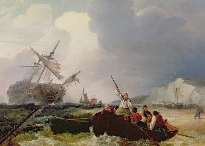 Boat Greeting Card featuring the painting Rowing Boat Going To The Aid Of A Man-o'-war In A Storm by George Chambers