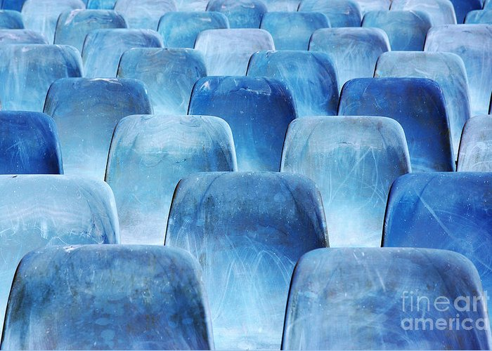 Amphitheater Greeting Card featuring the photograph Rows Of Blue Chairs by Carlos Caetano
