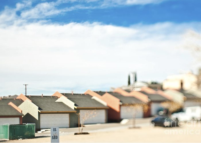Apartment Greeting Card featuring the photograph Rows Of Duplex Garages by Eddy Joaquim