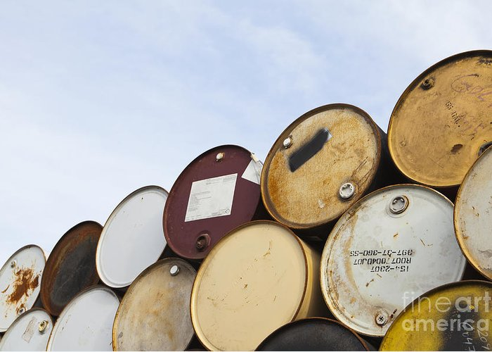 Barrel Greeting Card featuring the photograph Rows Of Stacked Barrels by Paul Edmondson