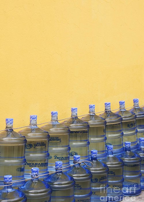Bottle Greeting Card featuring the photograph Rows Of Water Jugs by Jeremy Woodhouse