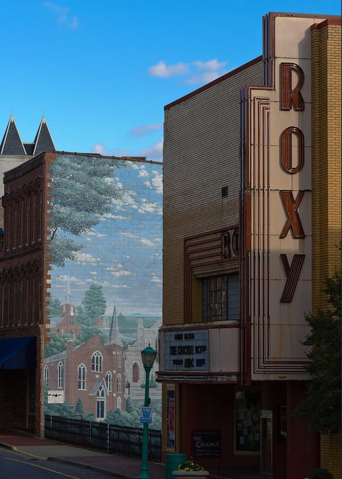 Clarksville Greeting Card featuring the photograph Roxy Theater And Mural by Ed Gleichman