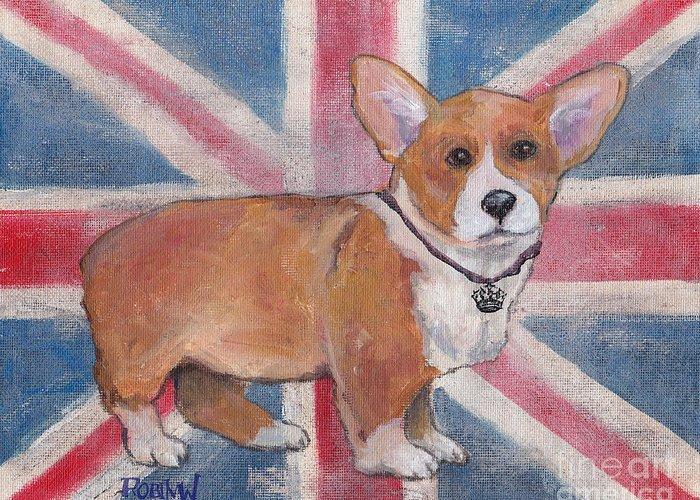 Dog Greeting Card featuring the painting Royal Corgi by Robin Wiesneth