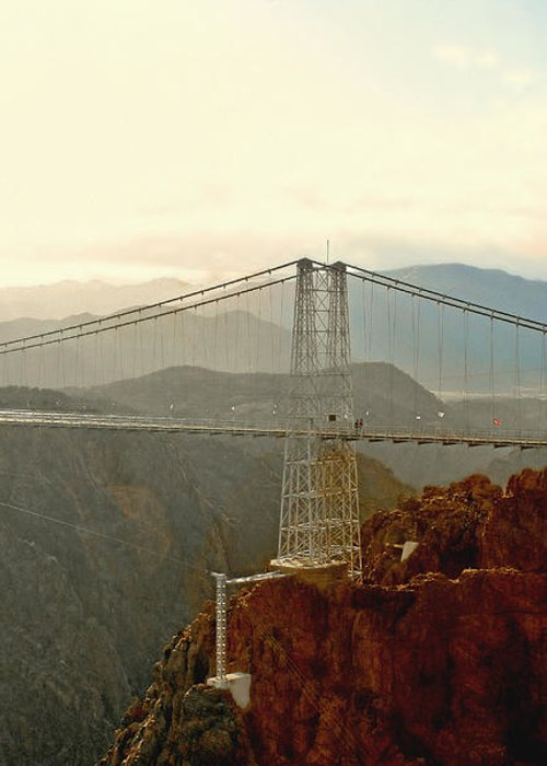 Suspension Bridge Greeting Card featuring the photograph Royal Gorge Bridge Colorado - Take A Walk Across The Sky by Christine Till