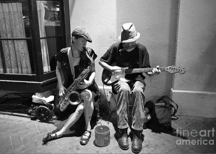 New Orleans Greeting Card featuring the photograph Royal Street Music by Leslie Leda