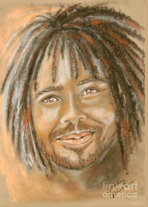 Man Greeting Card featuring the pastel Rufus by Sandra Valentini