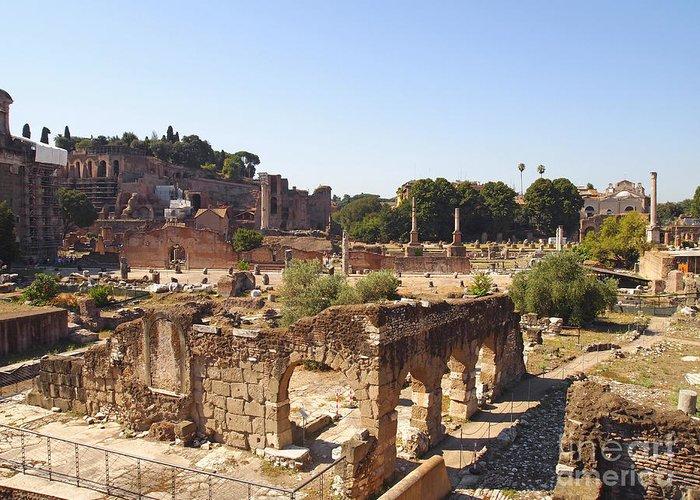 Worth Greeting Card featuring the photograph Ruins. Roman Forum. Rome by Bernard Jaubert