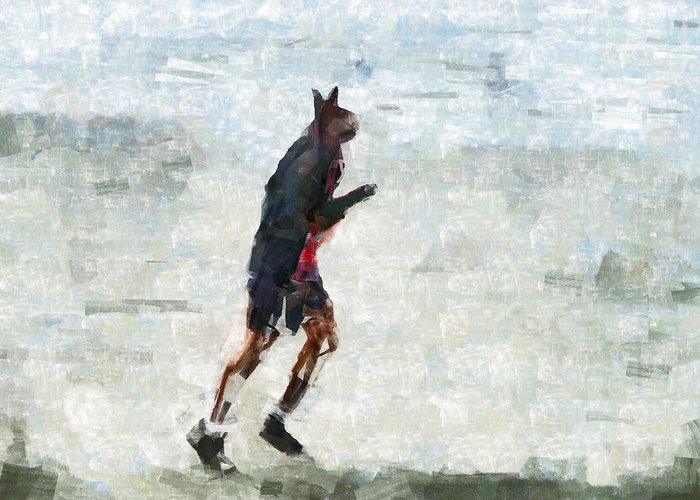 Bionic Greeting Card featuring the digital art Run Rabbit Run by Steve Taylor