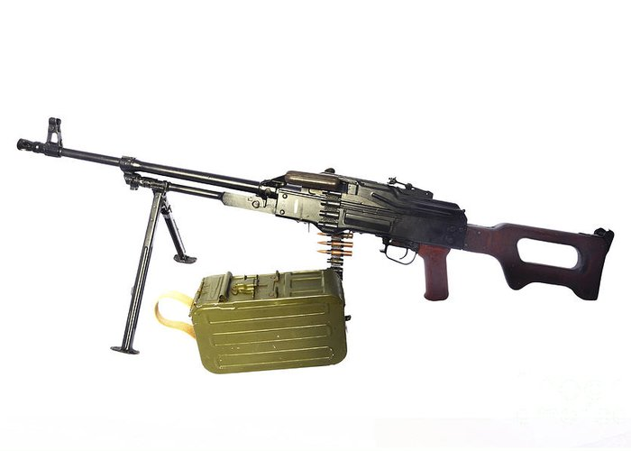Single Object Greeting Card featuring the photograph Russian Pkm General-purpose Machine Gun by Andrew Chittock