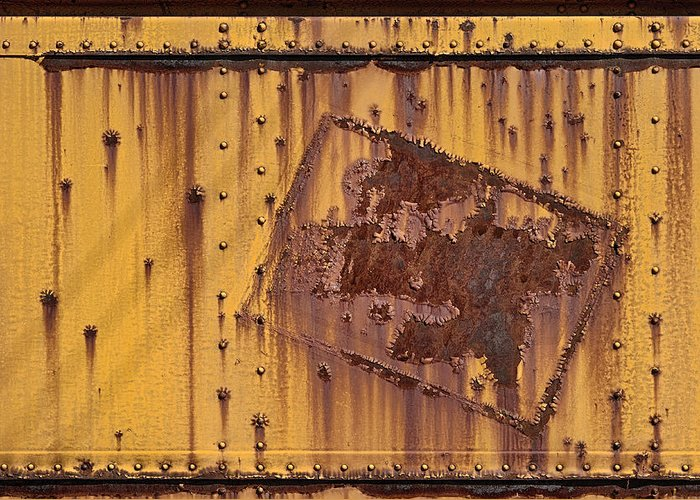 Yellow Greeting Card featuring the photograph Rust In Sign by Donald Schwartz