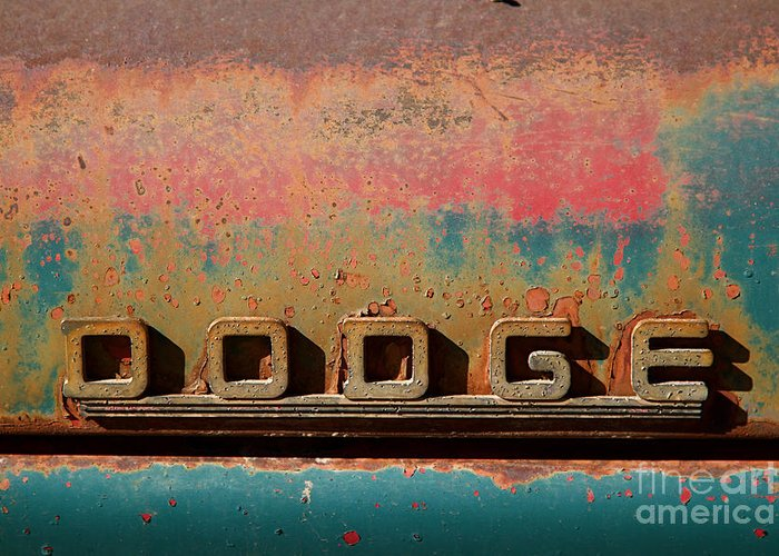 Car Greeting Card featuring the photograph Rusted Antique Dodge Car Brand Ornament by ELITE IMAGE photography By Chad McDermott