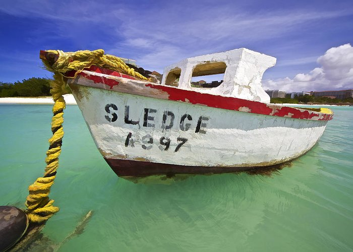 Anchored Greeting Card featuring the photograph Rustic Fishing Boat Of Aruba II by David Letts