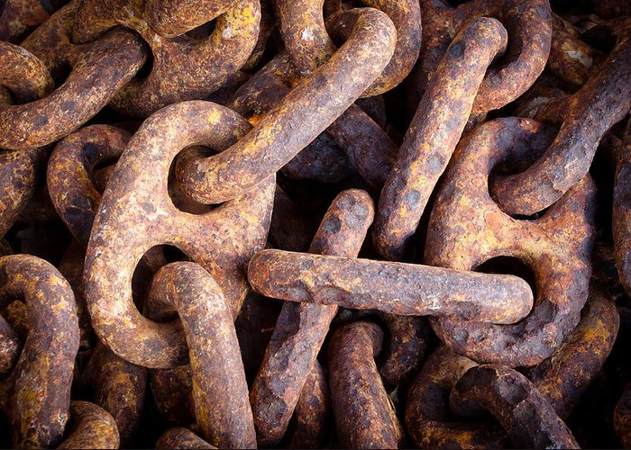 Keys Greeting Card featuring the photograph Rusty Anchor Chains In Key West by Adam Pender