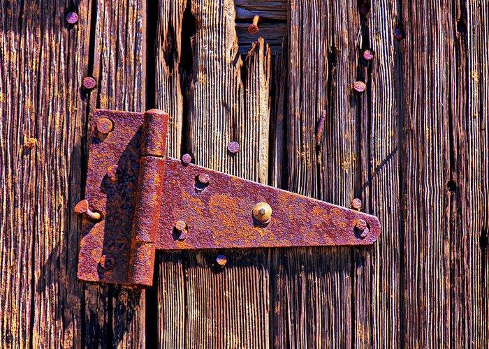 Rusty Barn Door Hinge Greeting Card featuring the photograph Rusty Barn Door Hinge by Garry Gay