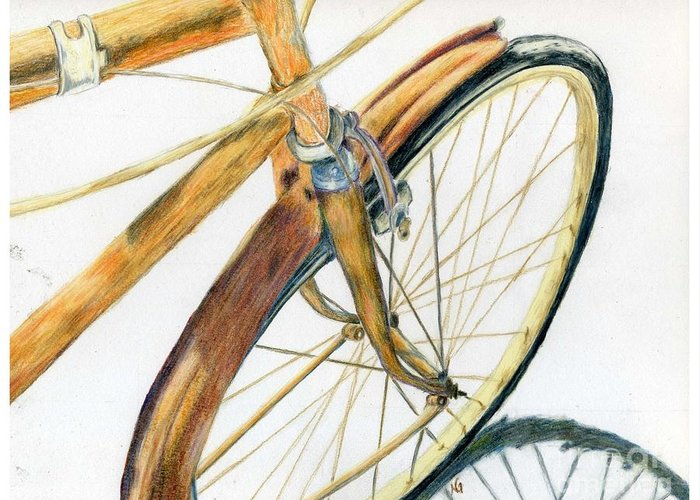 Drawing Greeting Card featuring the drawing Rusty Beach Bike by Norma Gafford