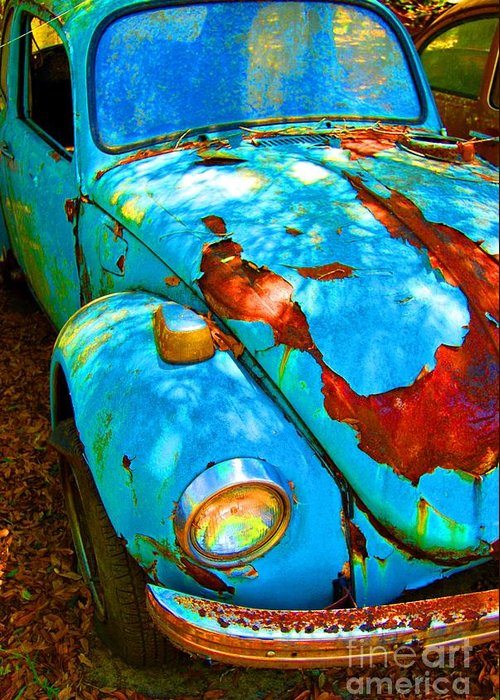 Vw Greeting Card featuring the photograph Rusty Blue by Kendra Longfellow