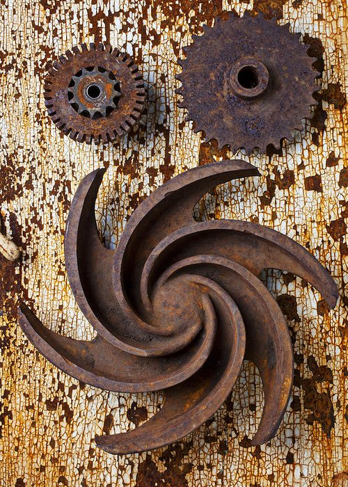 Rusty Greeting Card featuring the photograph Rusty Gears by Garry Gay