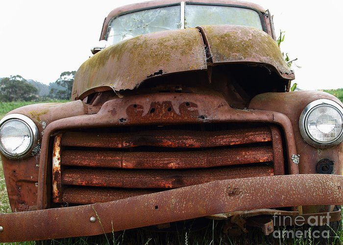 Transportation Greeting Card featuring the photograph Rusty Old Gmc Truck . 7d8396 by Wingsdomain Art and Photography