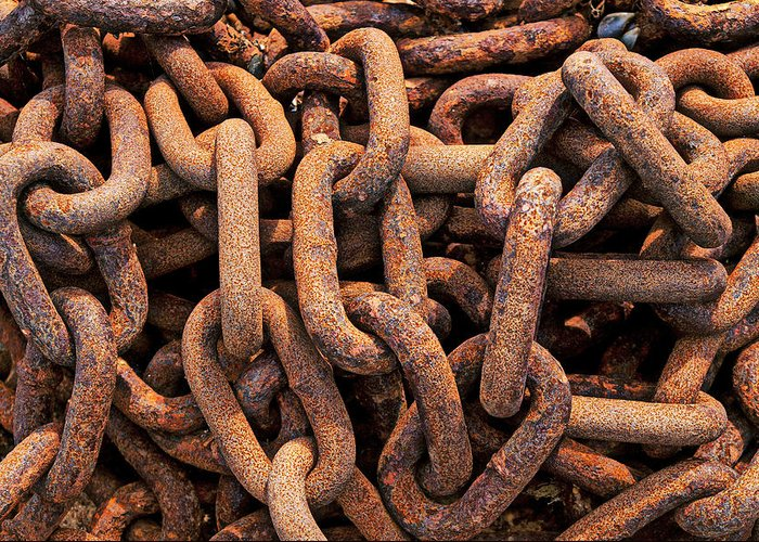 Rusty Ships Chain Greeting Card featuring the photograph Rusty Ships Chain by Garry Gay