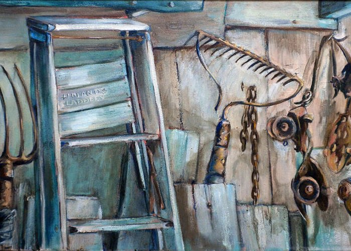 Rustic Settings Greeting Card featuring the painting Rusty Tools by Jean Groberg