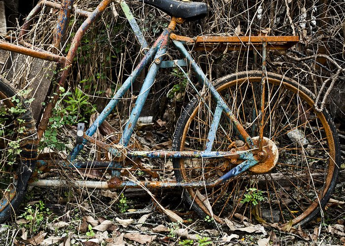 Aged Greeting Card featuring the photograph Rusty Wheel Of Bicycle by Chavalit Kamolthamanon