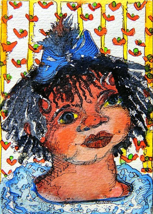 Children Greeting Card featuring the painting Ruthie by Mindy Newman