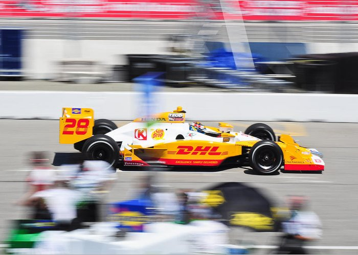 Ryan Hunter-reay Greeting Card featuring the photograph Ryan Hunter-reay Exiting Pit Road by Jarvis Chau