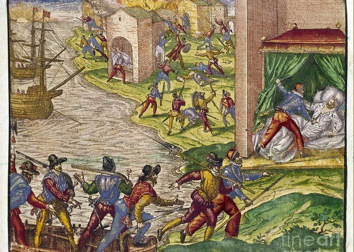 1544 Greeting Card featuring the photograph Sack Of Cartagena, C1544 by Granger