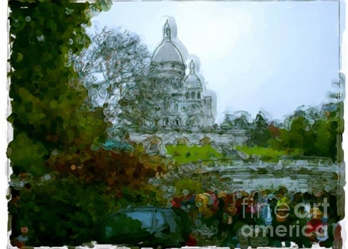 Landscapes Greeting Card featuring the painting Sacre Coeur Paris - France by Franck Guarinos