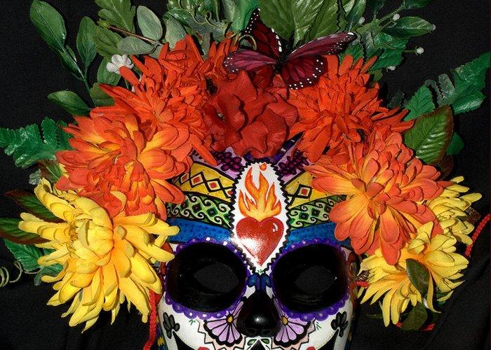 Dia De Los Muertos Greeting Card featuring the sculpture Sacred Heart Sugar Skull Mask by Mitza Hurst
