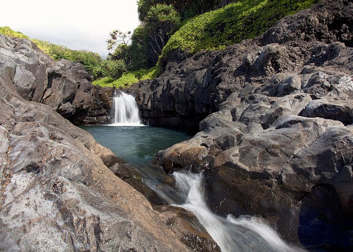 Blue Greeting Card featuring the photograph Sacred Pool Falls by Jenna Szerlag