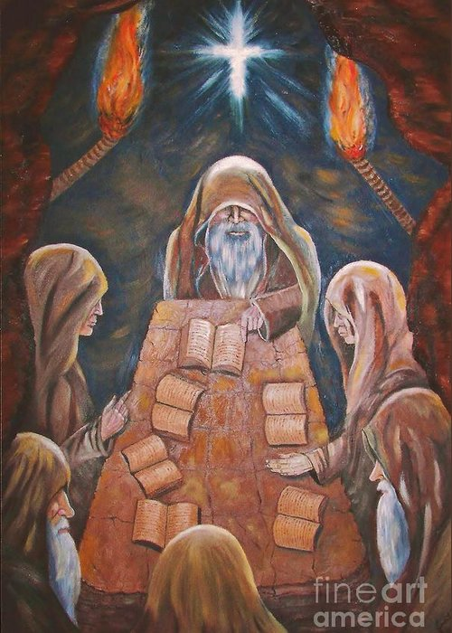 Sacred Tradition Greeting Card featuring the painting Sacred Tradition by Judy Via-Wolff