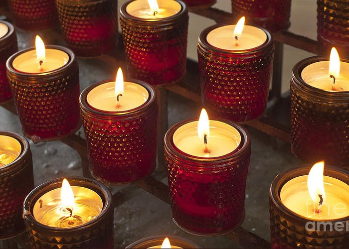 Sacrificial Greeting Card featuring the photograph Sacrificial Candles by Heiko Koehrer-Wagner