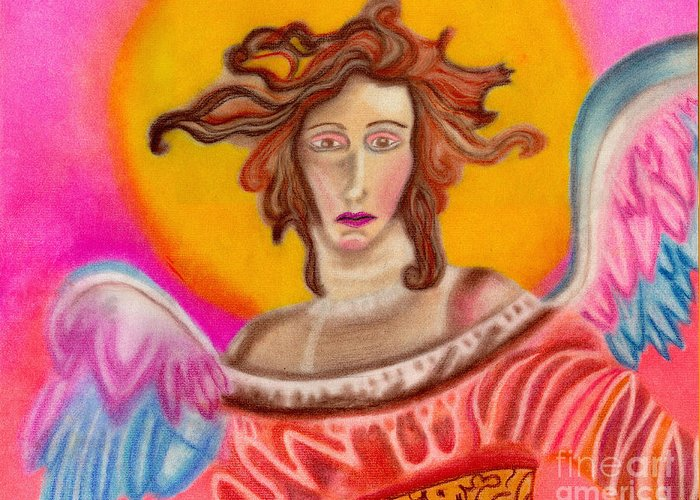 Angels Greeting Card featuring the pastel Sad Angel by Christine Perry
