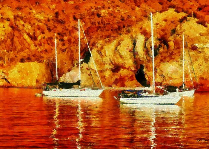 Sailboat Greeting Card featuring the photograph Safe Habor At Sunset by Russ Harris