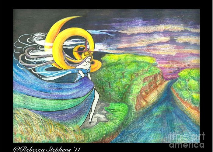 Sage Greeting Card featuring the drawing Sage Moon by Rebecca Stephens