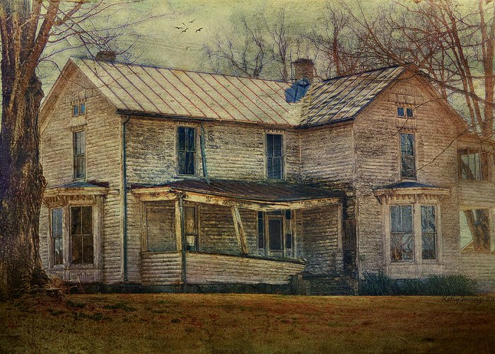 House Greeting Card featuring the photograph Saggy Porch by Kathy Jennings