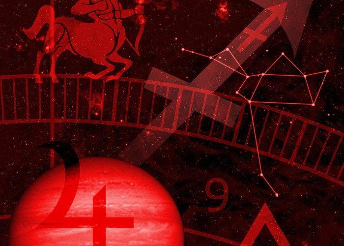 Horoscope Greeting Card featuring the digital art Sagittarius by JP Rhea