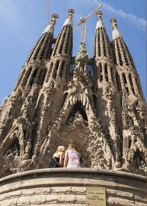 Sagrada Familia Greeting Card featuring the photograph Sagrada Familia Church - Barcelona Spain by Matthias Hauser